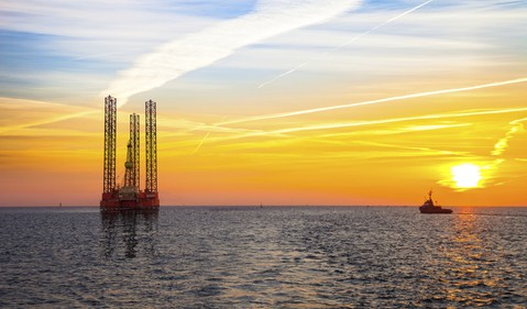 offshore rig sunset