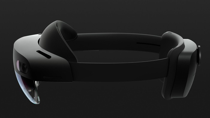 The HoloLens 2, thick goggles with a black headband