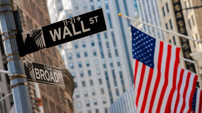 Street signs at the corner of Wall Street and Broad Street with American flags in the background.