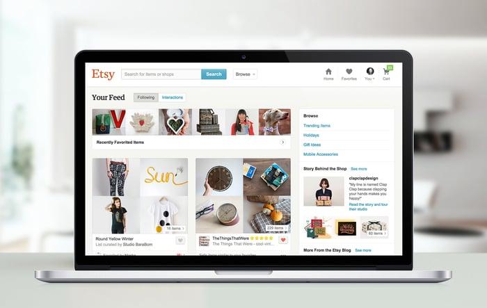 Etsy website displayed on a laptop.