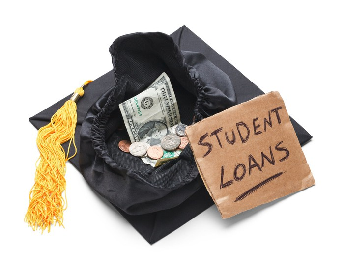 A graduation cap is being used to collect money. Image source: Getty Images