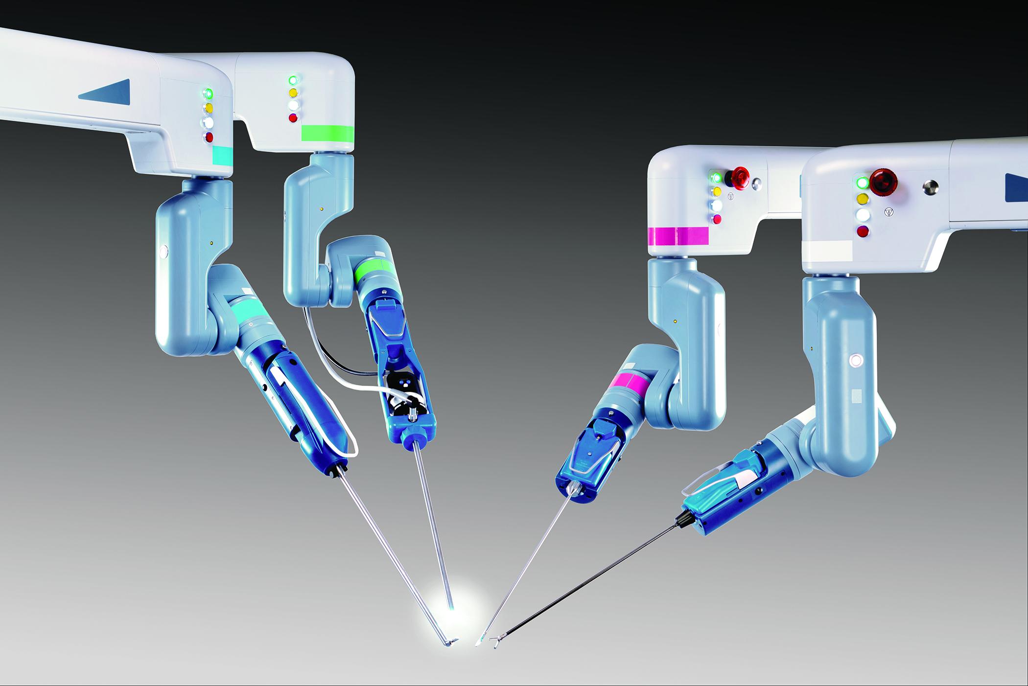 Four Senhance robotic surgery arms