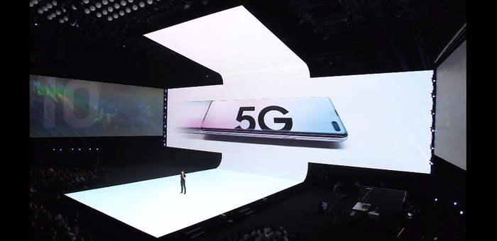 A Samsung 5G phone unveiling at an event