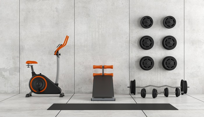 Workout equipment in a home.