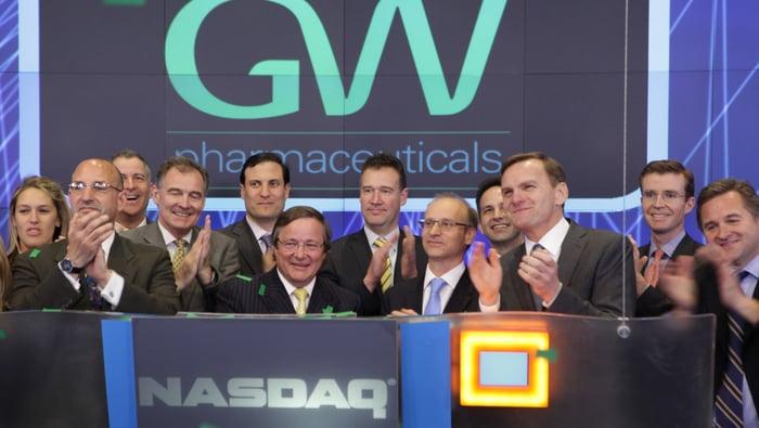 GW Pharmaceuticals executives at Nasdaq stock exchange