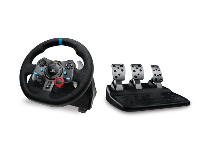 A Logitech steering wheel and pedal set.