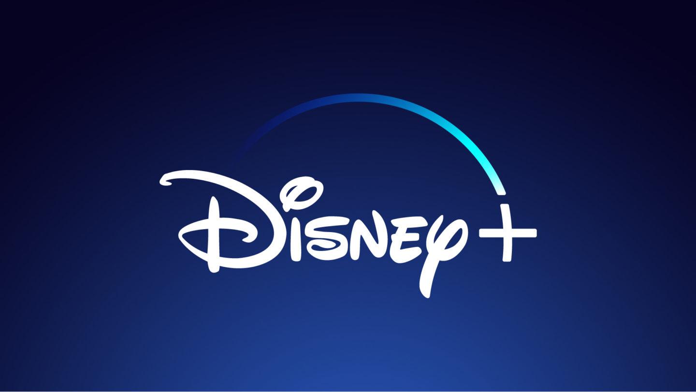 Disney+ logo on a blue background.