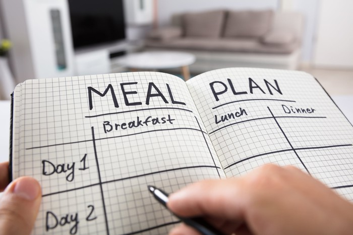 "A woman marking notes in a ""Meal Plan"" book."