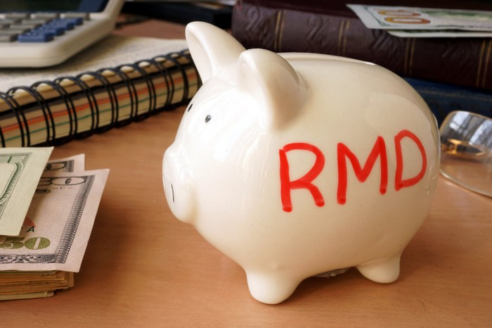"Piggy bank with ""RMD"" on side."