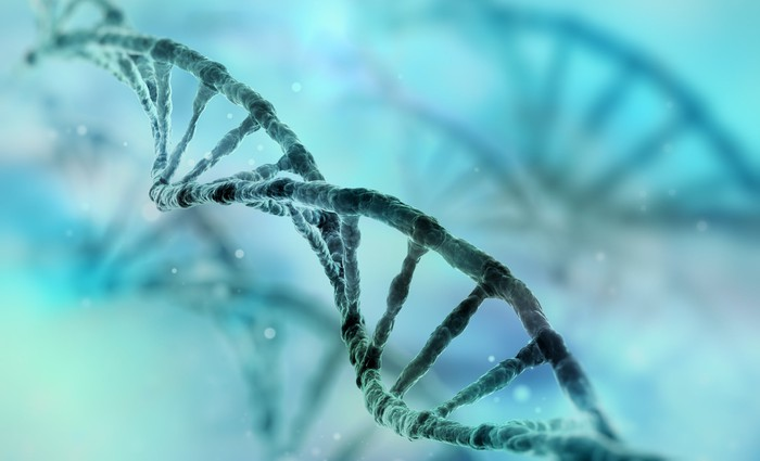 A DNA strand on a teal background.