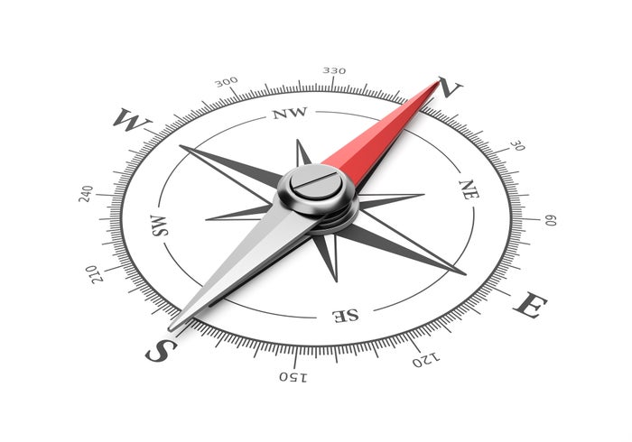 Compass pointing north.