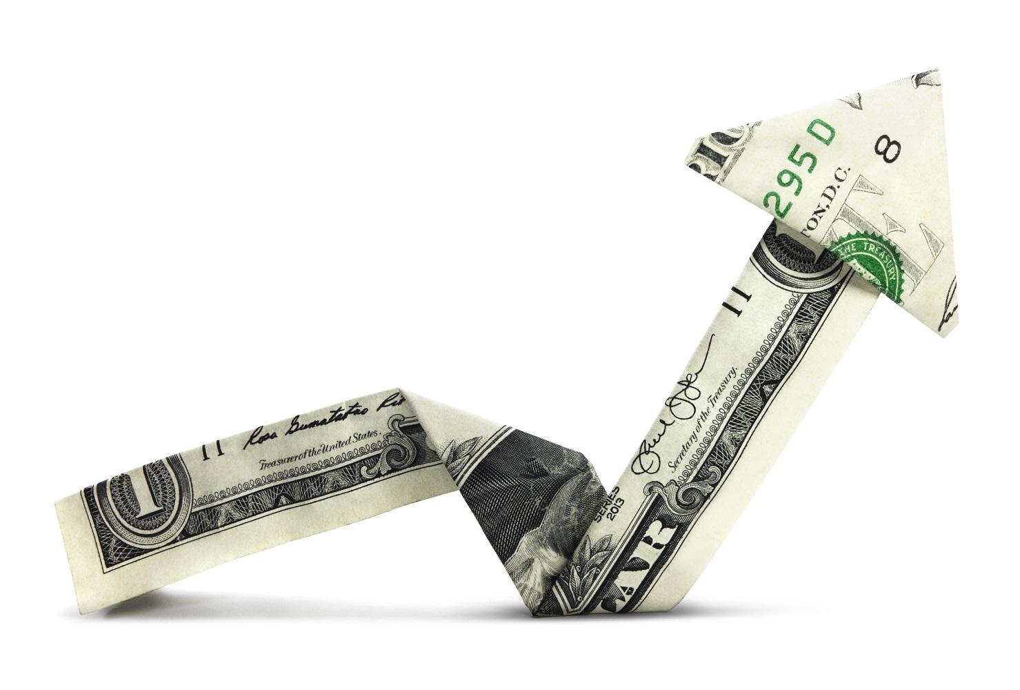 Dollar bill folded into an arrow aimed up.