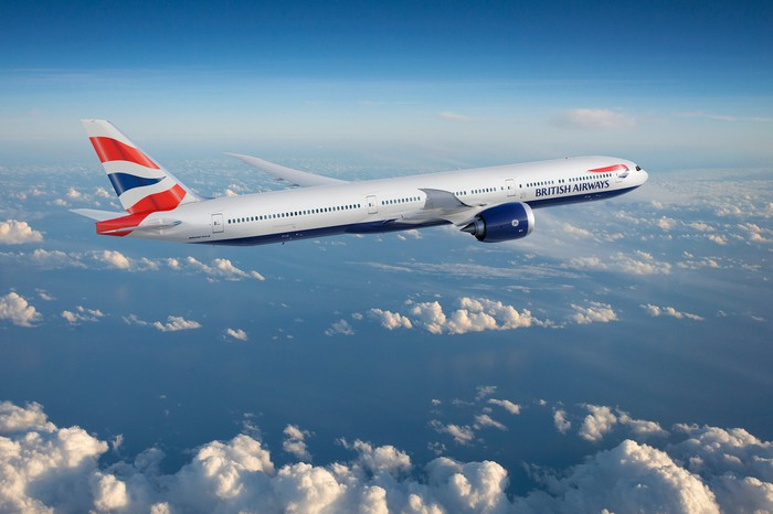 A rendering of a 777-9 in the British Airways livery