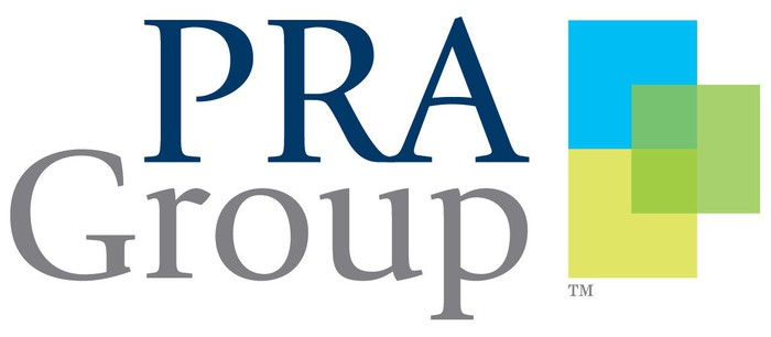 Logo for PRA Group with three squares in blue, yellow, and green.