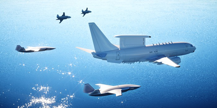 Rendering of Boeing's Airpower Teaming System drone flying with a AEW&C reconnaissance aircraft.
