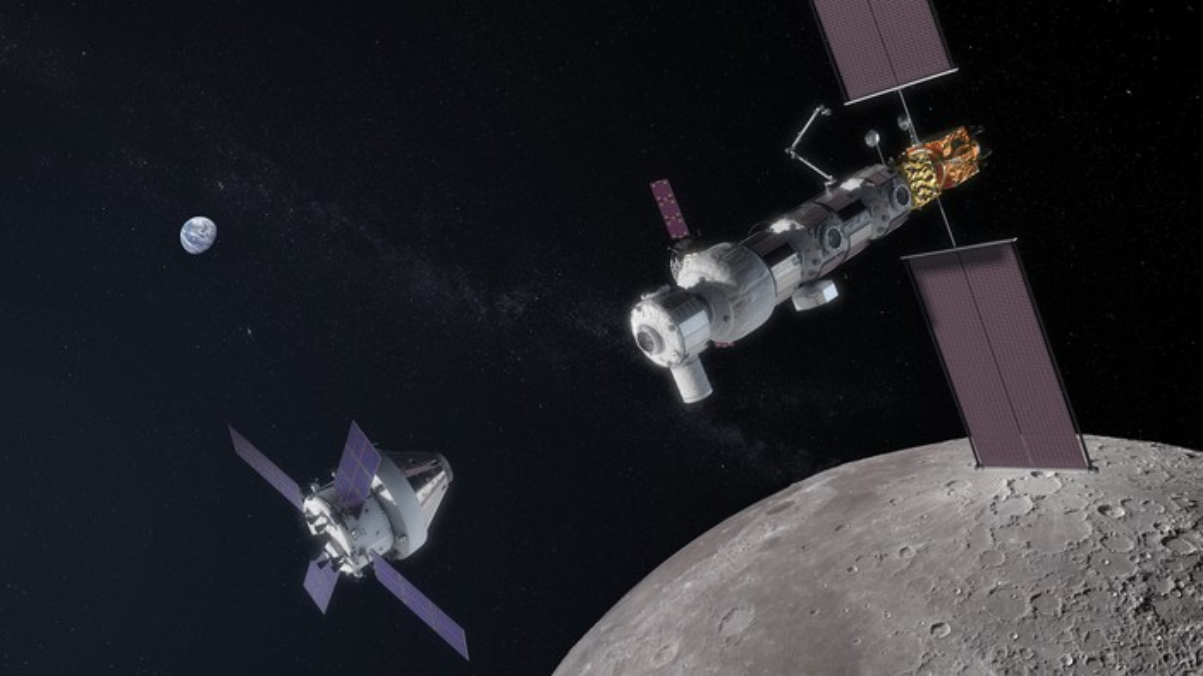 Artist's depiction of NASA's planned Lunar Gateway