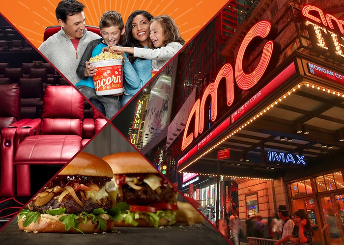 A collage of an AMC theater, a happy family eating popcorn, reclining seats, and freshly cooked hamburgers.
