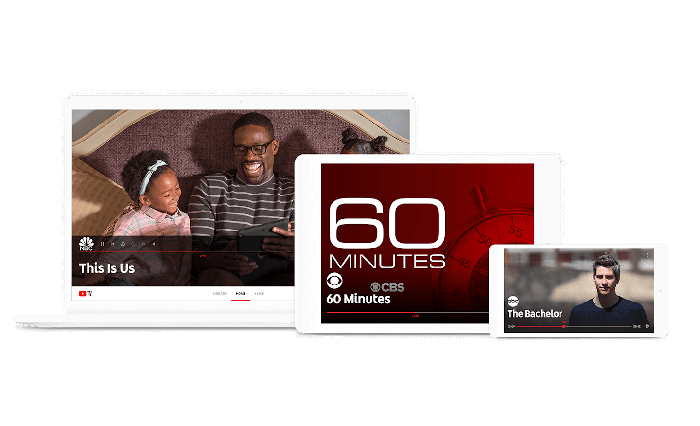 YouTube TV mockups on a laptop, tablet, and smartphone.