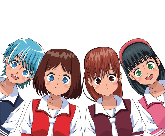 A group of anime characters.