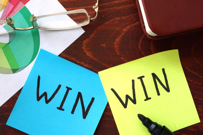 """Two different-colored Post-It notes with the words """"WIN"""" written on them using a black marker side by side."""