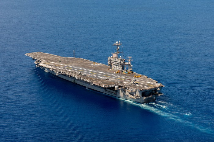 The USS Harry S. Truman at sea.