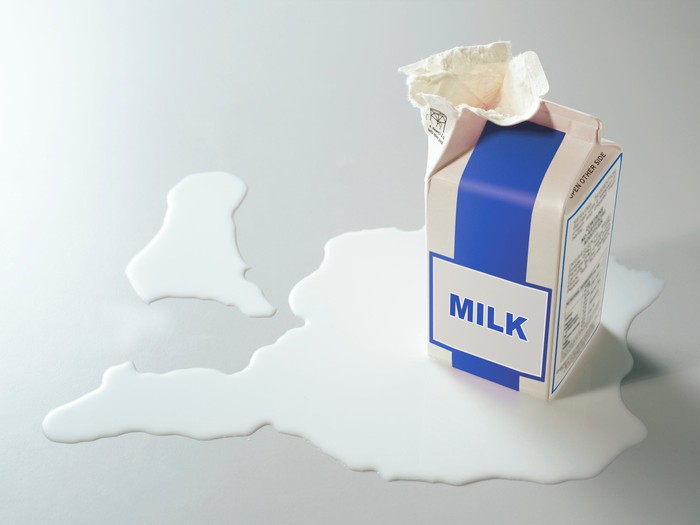 Ripped and spilled milk carton