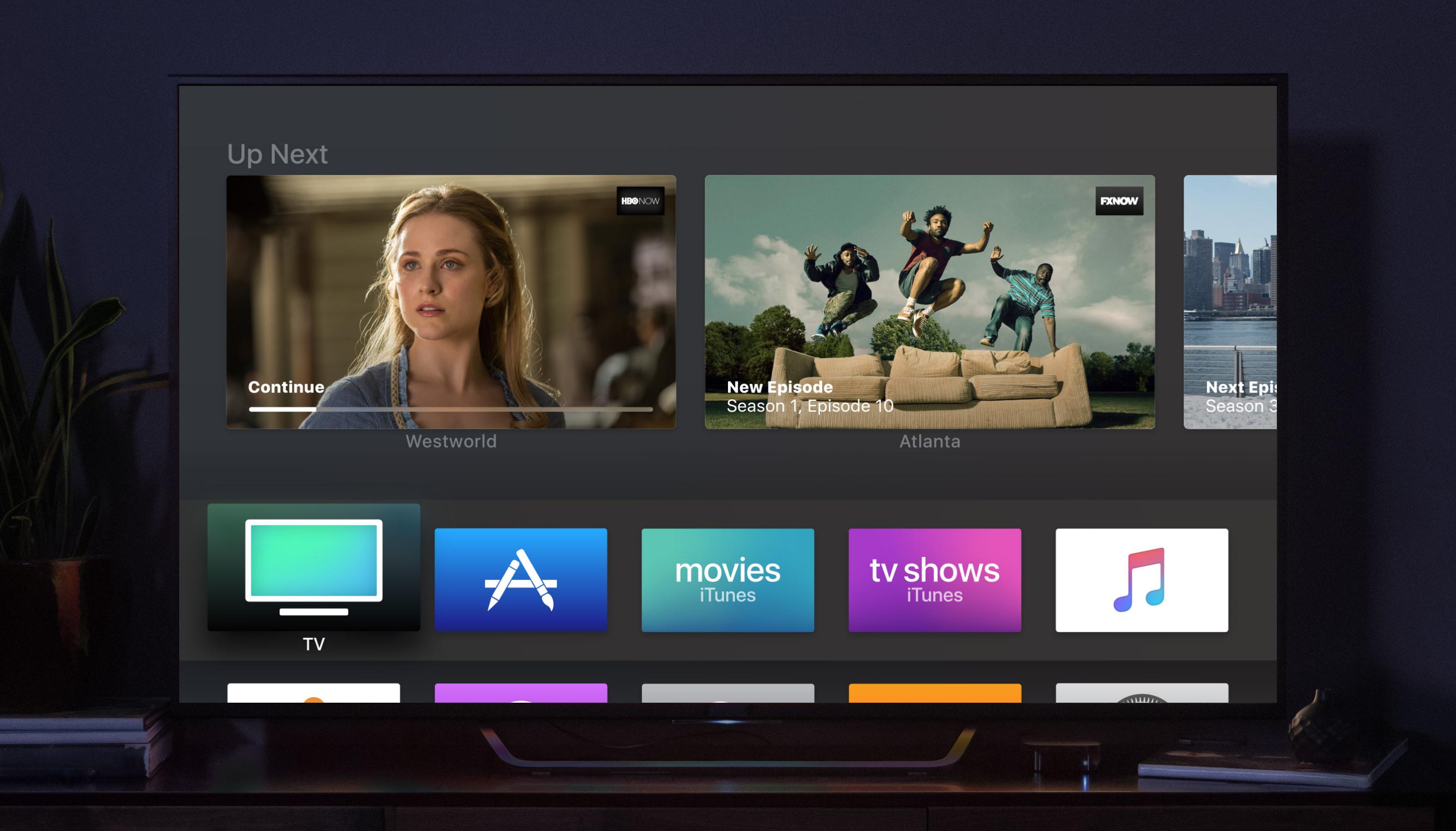 Apple tvOS interface displayed on a TV