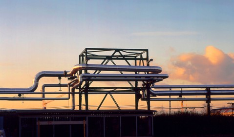 Pipelines at twilight.