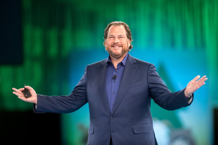 Salesforce co-CEO Marc Benioff on stage.