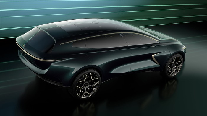 The Lagonda All-Terrain Concept, a long and sleek electric SUV, viewed from above.