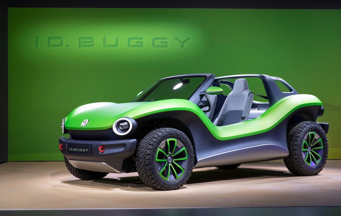 The VW I.D. Buggy, a two-seat electric vehicle inspired by the Meyers Manx dune buggy of the 1960s