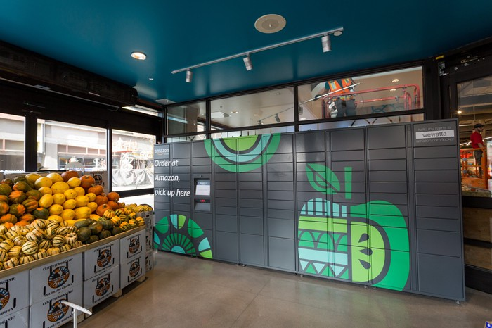 An Amazon Locker in a Whole Foods store