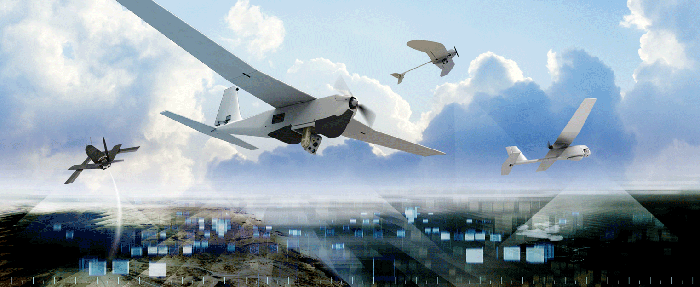 Multiple unmanned aerial vehicles flying in a sky with ground-based control centers shown.