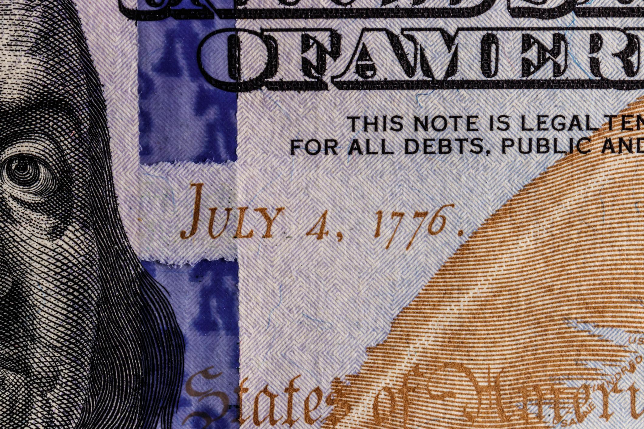 July 4 1776 date on a $100 bill