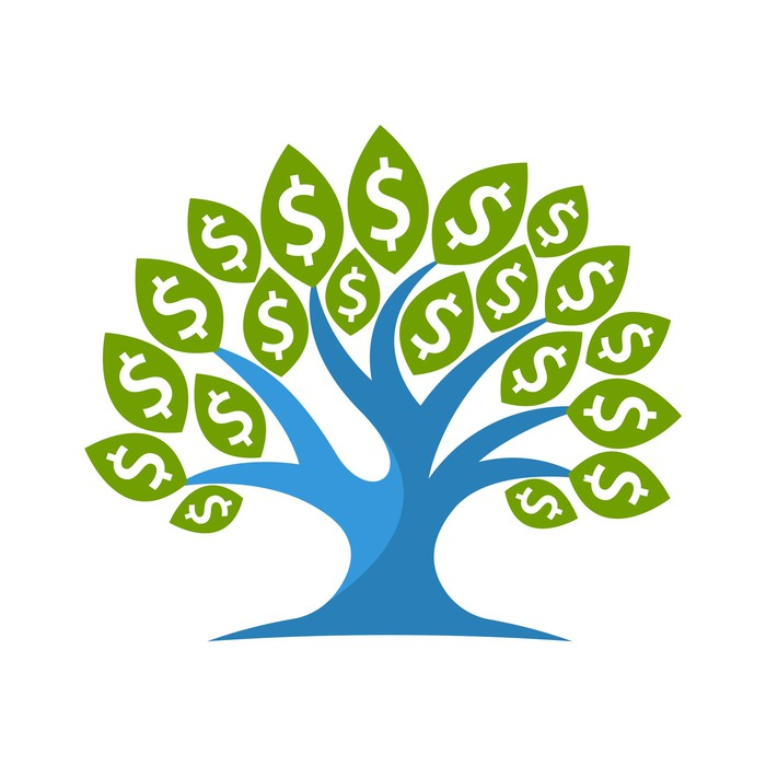 Illustration of a tree with dollar signs in the place of leaves.