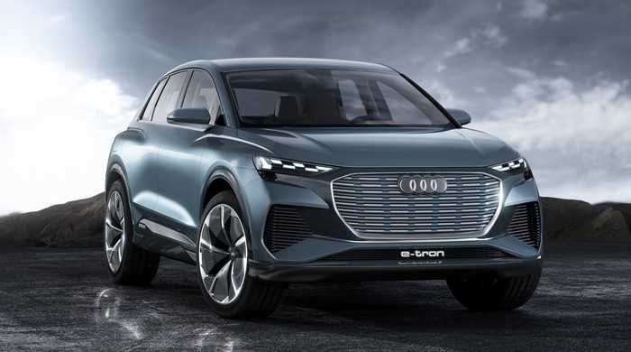 The Audi e-tron Q4 Concept, a blue compact luxury SUV.