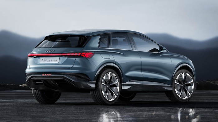 A rear three-quarter view of the Audi e-tron Q4 Concept, a compact electric crossover SUV.