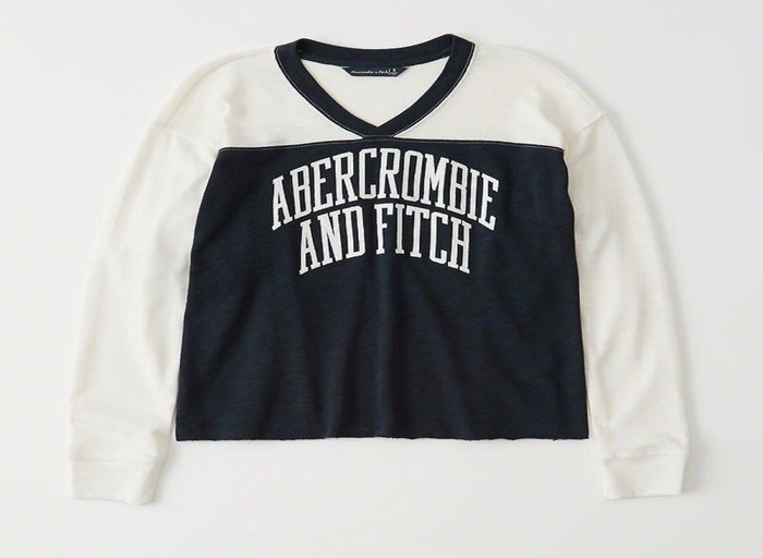Long-sleeve blue and white t-shirt with Abercrombie and Fitch on it.