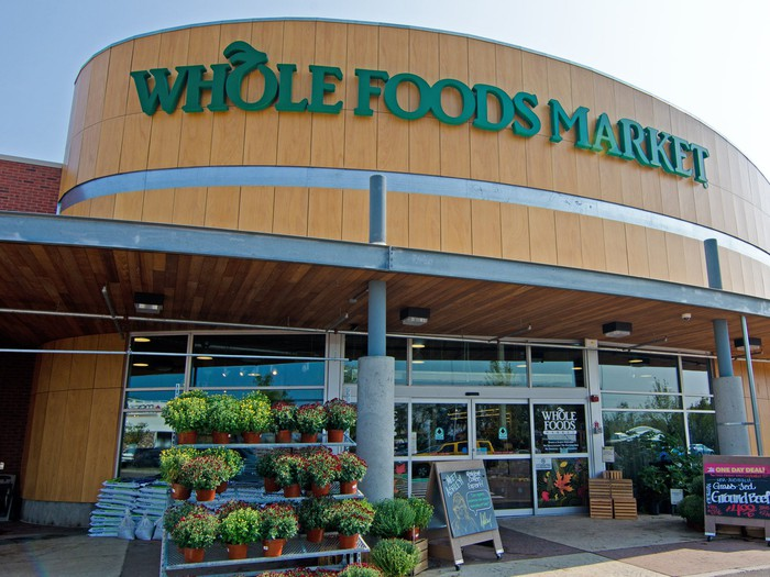 The facade of a Whole Foods Market in Plymouth Meeting, Pennsylvania.