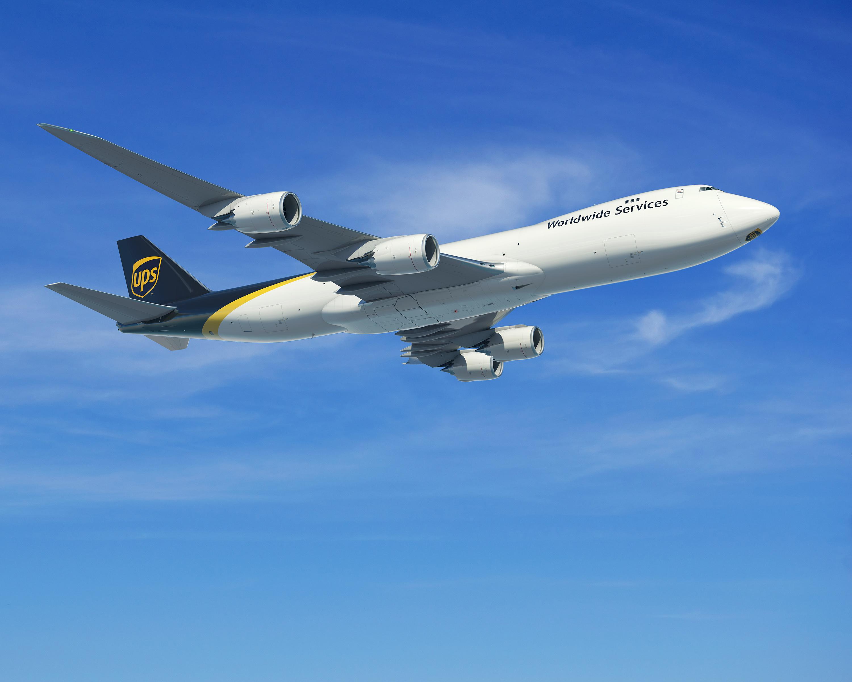 UPS cargo plane in air.