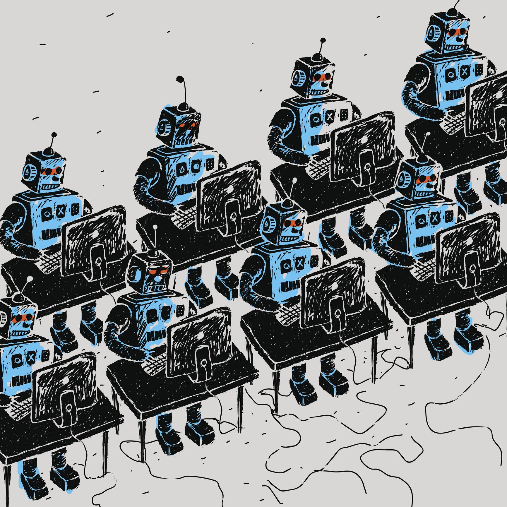 Robots work at desk.