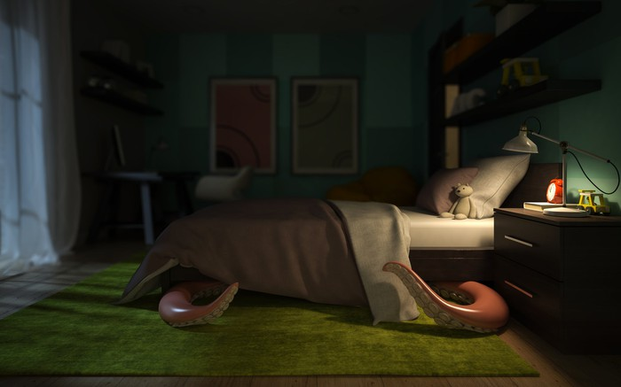 Monster tentacles emerging from under child's bed in a dark bedroom with only a nightstand lamp on