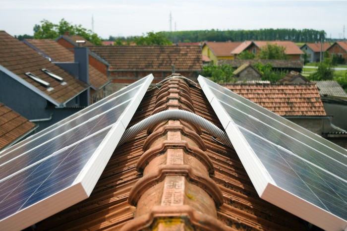 Rooftop solar panels.