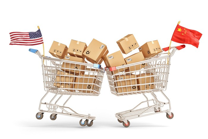 Shopping carts with U.S. and Chinese flags crashing into each other