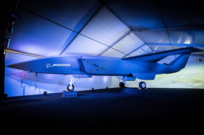 Prototype of Boeing's Airpower Teaming System drone on display at an air show.