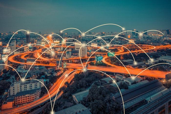 Time lapse of city roads with wirelessly interconnected points.