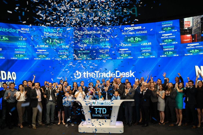 The Trade Desk employees at the NASDAQ stock exchange