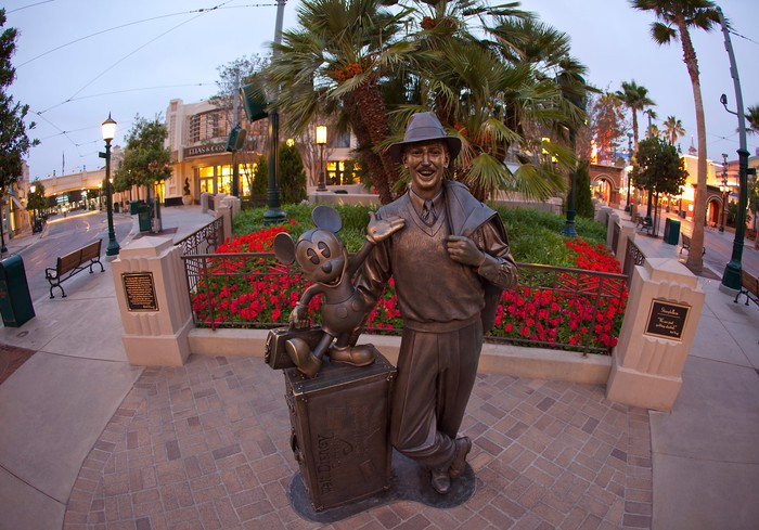 Walt Disney and Mickey Mouse statue on Buena Vista Street at Disney California Adventure