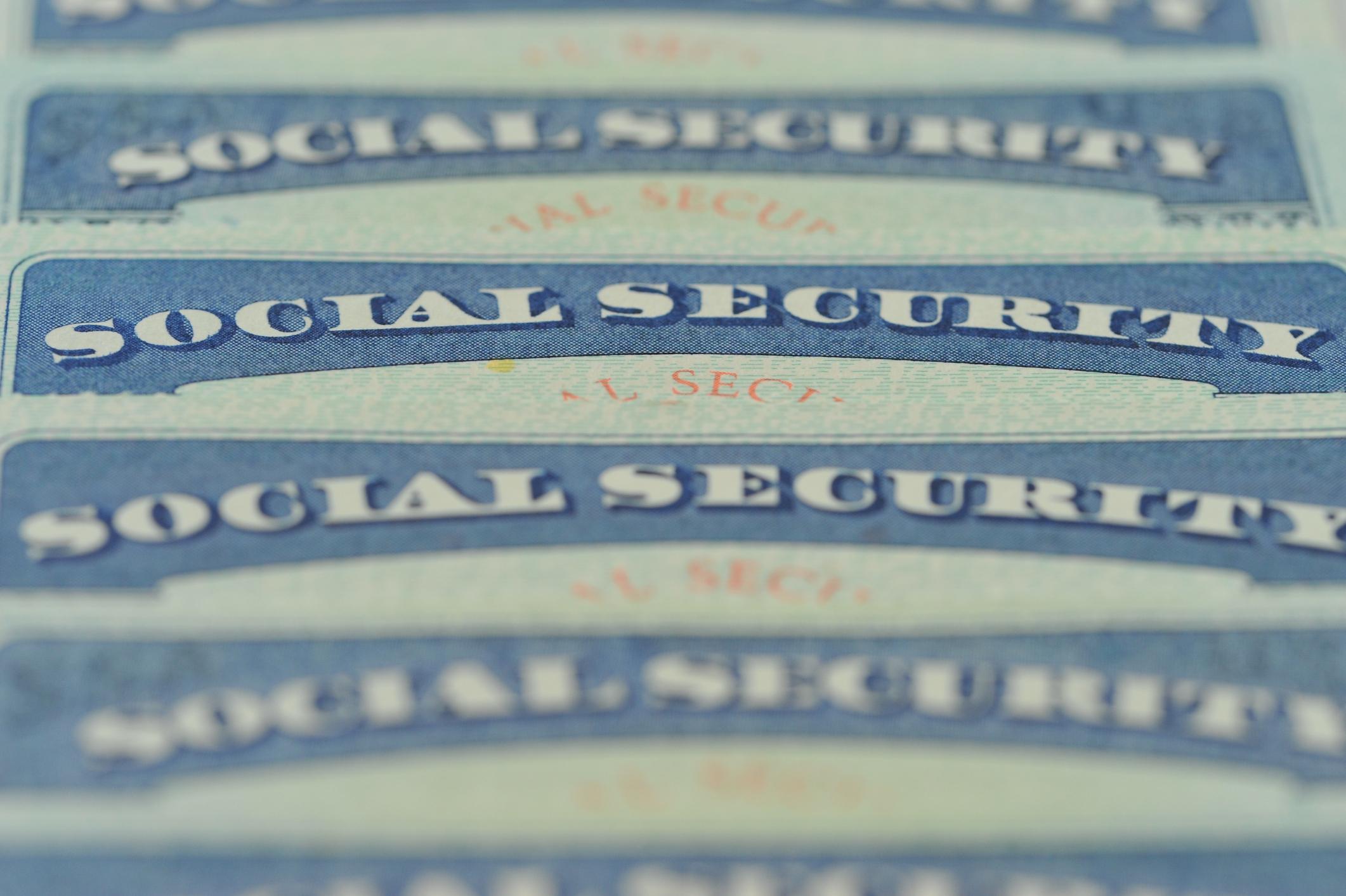 Row of Social Security cards.