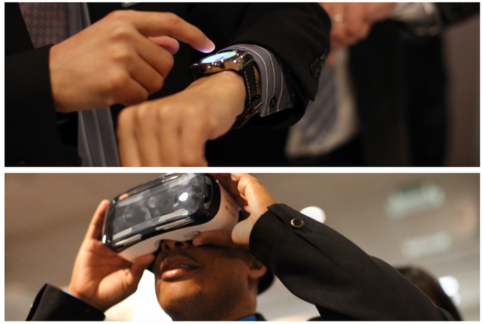 Two-paned image with top pane showing a lit display on a smartwatch on a person's wrist and bottom pane showing a man using a virtual reality headset.